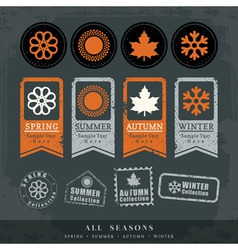 Four seasons symbol for stamp label tag sticker vector
