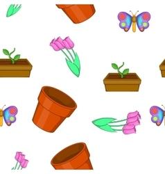 Garden pattern cartoon style vector image