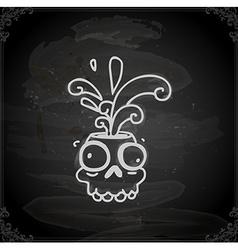 Hand Drawn Skull Cartoon with Paint Splatter vector image