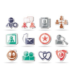 internet community and social network icons vector image vector image
