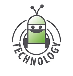 Logo robot with two antennas vector