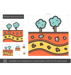 Mineral resources line icon vector