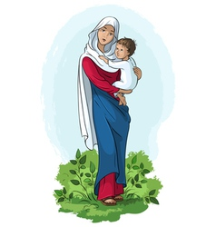 mother mary and child jesus vector image vector image