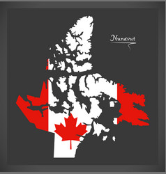 Nunavut canada map with canadian national flag vector