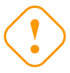 Orange rhomb exclamation mark icon warning sign vector