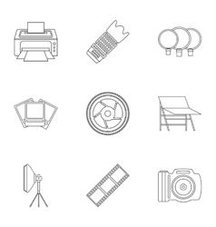 Photo icons set outline style vector