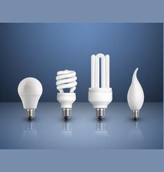 Realistic modern bulbs collection vector