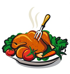 roasted chicken vector image vector image