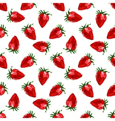 Seamless pattern strawberry Polygon fruit vector image vector image