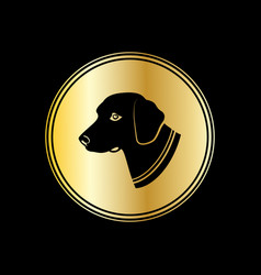 silhouette of dog head in gold circle symbol 2018 vector image vector image