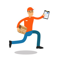 smiling delivery man running with cardbox and vector image vector image
