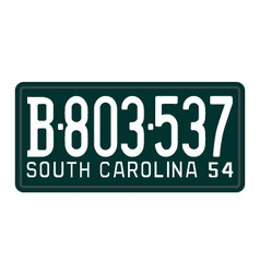 South carolina 1954 license plate vector