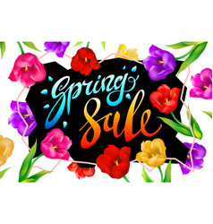 Spring sale banner colotful tulips flowers black vector