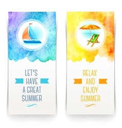 Summer holidays and travel banners with greetings vector
