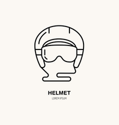 Thin line icon of ski helmet winter vector