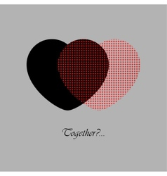 Two red and black hearts with text vector