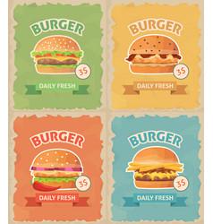 vintage fast food burgers set vector image
