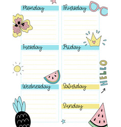 weekly summer planner template vector image