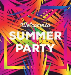 Welcome to the Summer Party Poster vector image