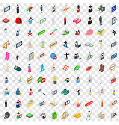 100 avatar icons set isometric 3d style vector