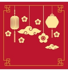 Chinese lanterns and flowers decorations vector