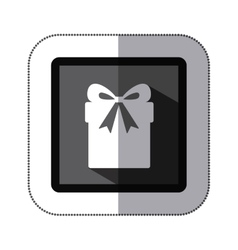Sticker monochrome square with giftbox with ribbon vector