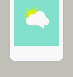 Phone screen with sunny message vector