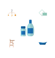Flat child set of napkin mobile bathtub and vector