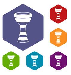 african drum icons set hexagon vector image