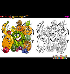 Cartoon fruits coloring page vector