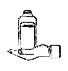 Human hand holding bottle shampoo care pet vector