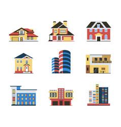 digital blue red city buildings vector image