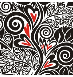 Floral pattern background with hearts vector