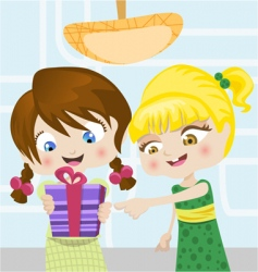 cartoon girls with gifts vector image