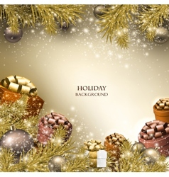 Christmas background with gifts xmas boxes with vector