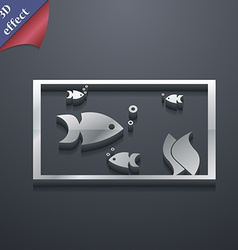 Aquarium fish in water icon symbol 3d style trendy vector