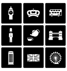 Black london icon set vector