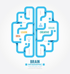Infographics blue paper brain design diagram line vector