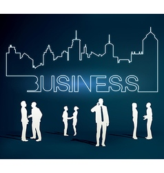 Business people team with city line vector
