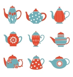 Colorful tea pots collection vector