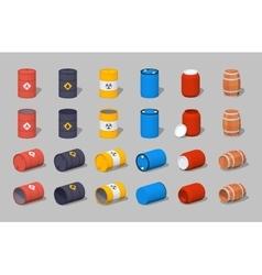 Set of the metal plastic and wooden barrels vector