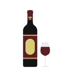 Red wine bottle and glass icon flat style vector