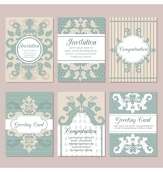 Set of wedding invitation card design flyer pages vector