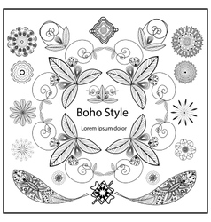 Set ornamental boho style elements vector