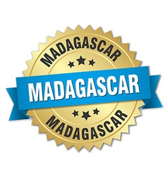 Madagascar round golden badge with blue ribbon vector