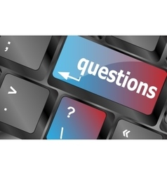 Computer keyboard key with key questions closeup vector image