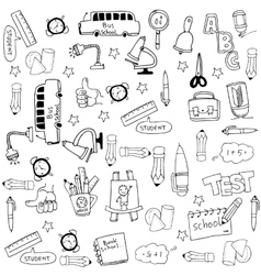 Doodle of schoole tools set collection stock vector