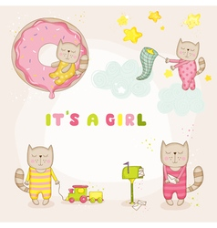 Baby Girl Cat Set - Baby Shower or Arrival Cards vector image