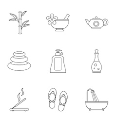 Beauty icons set outline style vector