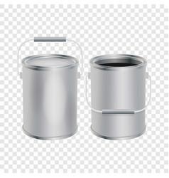 Blank paint buckets mockup realistic style vector
